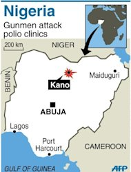 Map of Nigeria locating Kano, where gunmen attacked two polio clinics, killing 10 people. Extremist group Boko Haram has carried out attacks in Kano, though gangs linked to local politics also operate there