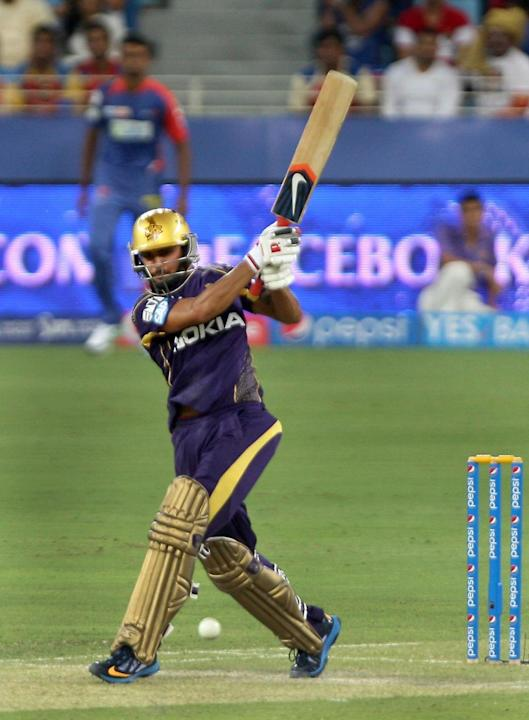 KKR player Manish Pandey in action during the sixth match of IPL 2014 between Delhi Daredevils and Kolkata Knight Riders, played at Dubai International Cricket Stadium in Dubai of United Arab Emirates