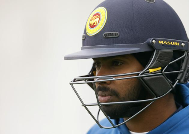 Sri Lanka's Niroshan Dickwella during nets