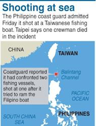 Graphic map locating the area where the Philippine coastguard said its personnel shot at a Taiwanese fishing boat in an incident that authorities in Taipei said left a crewman dead