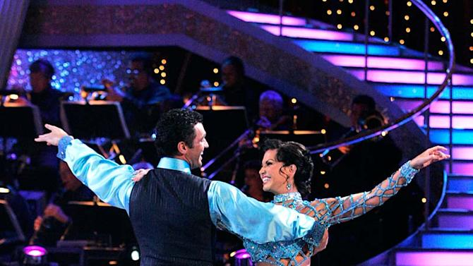 "Melissa Rycroft and Tony Dovolani perform the Waltz to ""Moon River"" by Andy Williams on ""Dancing with the Stars."""