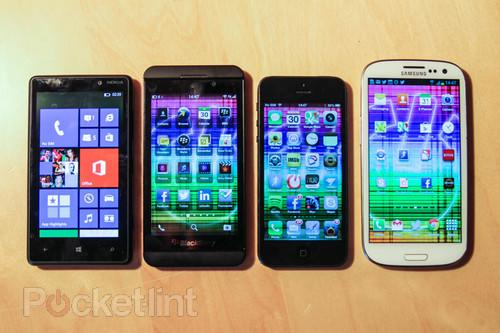 BlackBerry Z10 compared to SGS3, iPhone 5, Lumia 820 (photo). Phones, BlackBerry, RIM, BB10, BlackBerry Z10, iPhone 5, Samsung Galaxy S III, Nokia 0