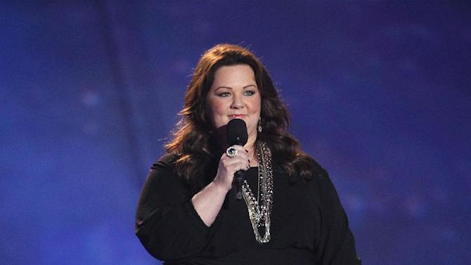 Actress Melissa McCarthy presents the award for best male performance at the MTV Movie Awards in Sony Pictures Studio Lot in Culver City, Calif., on Sunday April 14, 2013. (Photo by Matt Sayles/Invision /AP)