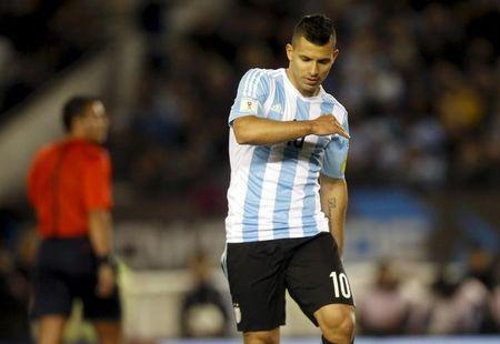 Argentina's Sergio Aguero reacts during their 2018 World Cup qualifying soccer match against Ecuador at the Antonio Vespucio Liberti stadium in Buenos Aires