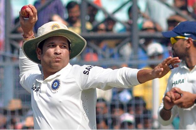 Indian cricketer Sachin Tendulkar in action during the 3rd day of the 1st test match between India and West Indies at Eden Gardens, Kolkata on Nov. 8, 2013. (Photo: IANS)