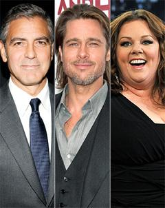 George Clooney, Brad Pitt, Melissa McCarthy Nominated for SAG Awards