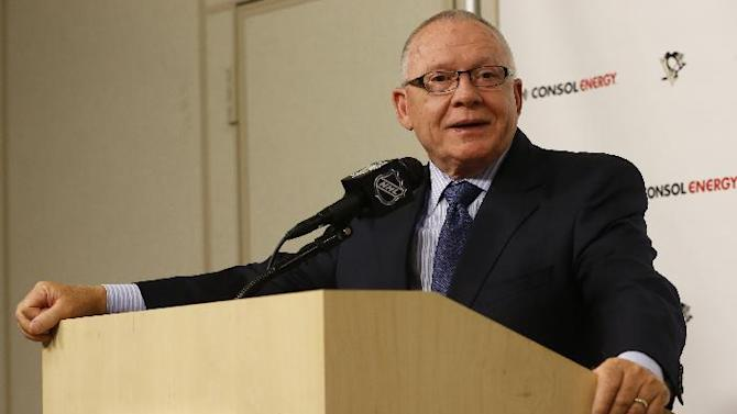 Jim Rutherford takes questions after he was introduced as the new general manager for the Pittsburgh Penguins NHL hockey team  during a news conference on Friday, June 6, 2014 in Pittsburgh