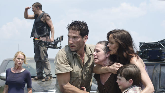 """Laurie Holden as Andrea, Norman Reedus as Daryl Dixon, Jon Bernthal as Shane Walsh, Melissa Suzanne McBride as Carol, Sarah Wayne Callies as Lori Grimes and Chandler Riggs as Carl Grimes on """"The Walking Dead."""""""