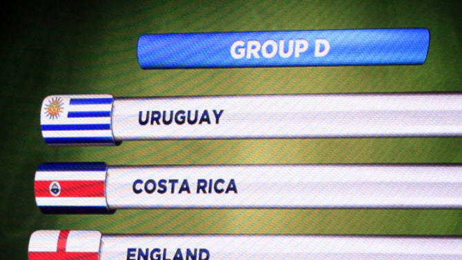 The teams in Group D for the 2014 World Cup finals are shown on the screen after the draw was made at the Costa do Sauipe resort in Sao Joao da Mata