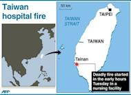 Graphic locating a deadly fire at a hospital in Taiwan's southern city of Tainan Tuesday