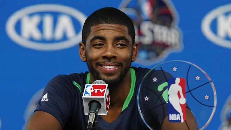 East Team's Kyrie Irving, of the Cleveland Cavaliers speaks during a news conference with his All Star MVP trophy after the NBA All Star basketball game, Sunday, Feb. 16, 2014, in New Orleans