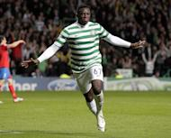 Celtic got their first home win in the league since October as they extended their lead at the top of the Scottish Premier League with a 2-0 win over St Mirren on Saturday. Victor Wanyama, pictured in action on August 29, 2012, gave Celtic a 15th minute lead when he tapped in the rebound from his own header