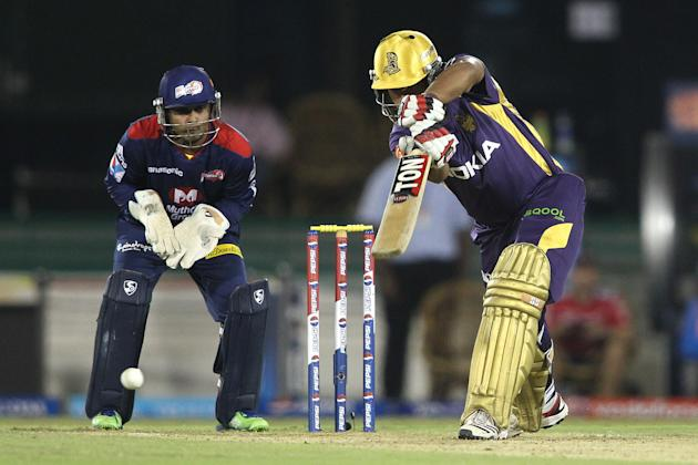Debabrata Das of Kolkata Knight Riders drives a delivery during match 44 of the Pepsi Indian Premier League between The Delhi Daredevils and the Kolkata Knight Riders held at the Chhattisgarh Internat