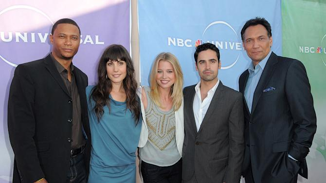 """""""Outlaw's"""" David Ramsey, Carly Pope, Ellen Woglom, Jesse Bradford, and Jimmy Smits arrive at NBC Universal's 2010 TCA Summer Party on July 30, 2010 in Beverly Hills, California."""
