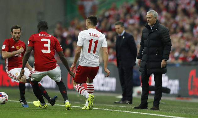 Manchester United manager Jose Mourinho reacts as Manchester United's Eric Bailly is in action with Southampton's Dusan Tadic