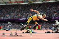 South Africa's double amputee athlete Oscar Pistorius takes the start of the men's 400m heats at the athletics event during the London 2012 Olympic Games