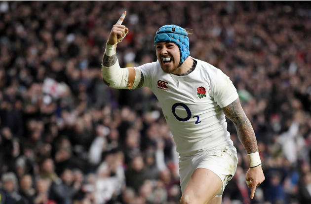 England's Jack Nowell celebrates scoring their fourth try