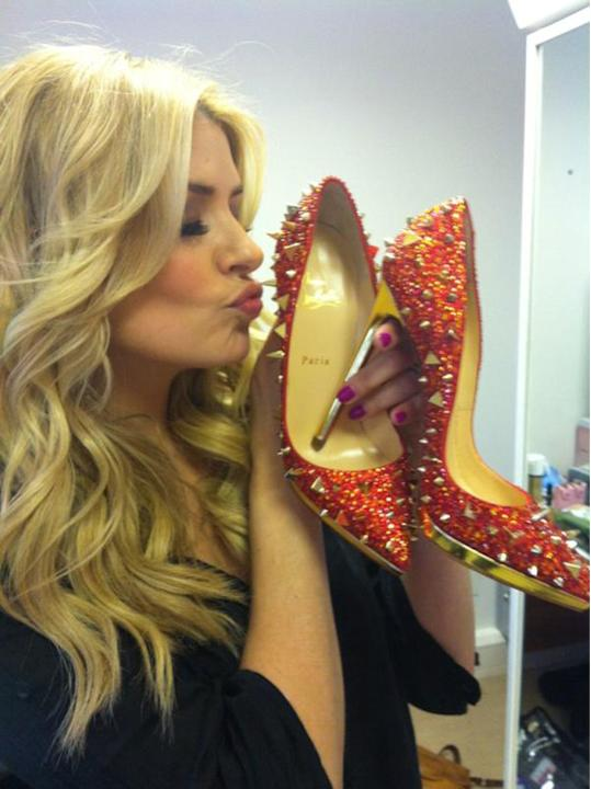 "Celebrity photos: Holly Willoughby gave us serious shoe envy when she tweeted this snap of her holding  a pair of divine heels given to her by will.i.am. She said: ""OMG thank you Santa Louboutin... Ak"