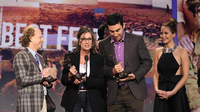 "Producers Bruce Cohen, Donna Gigliotti, Jonathan Gordon and actress Jennifer Lawrence accept the award for best feature for ""Silver Linings Playbook""  at the Independent Spirit Awards on Saturday, Feb. 23, 2013, in Santa Monica, Calif. (Photo by Chris Pizzello/Invision/AP)"