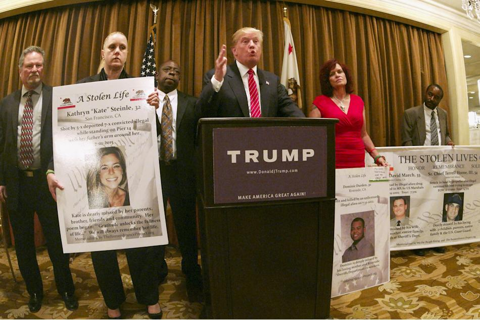U.S. Republican presidential candidate Donald Trump addresses a news conference regarding issues on undocumented immigrants in Beverly Hills, California