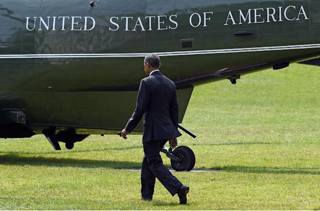President Barack Obama walks to Marine One on the South Lawn of the White House in Washington, Wednesday, July 1, 2015, before a short trip to Andrews Air Force Base, Md. Obama is traveling to Nashvil