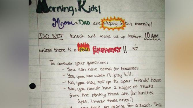 'Mom and Dad Are Sleeping In': Parents Leave Note for Kids in Attempt to Sleep