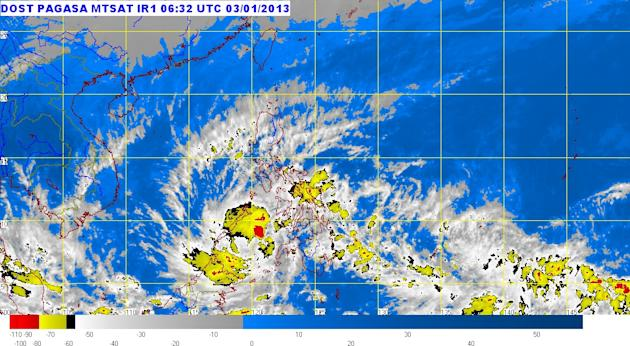MTSAT ENHANCED-IR Satellite Image 12:32 n.n., 03 January 2013 (Photo from Pagasa)