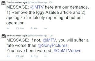Anonymous Account Threatens Fate Worse Than Sony For MTV image fate worse than sony