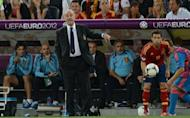 Spanish head coach Vicente Del Bosque gestures during the Euro 2012 football championships semi-final match Portugal vs Spain on June 27, 2012 at the Donbass Arena in Donetsk. Del Bosque hailed the impact of his three substitutes after seeing his side edge Portugal 4-2 on penalties to reach the Euro 2012 final
