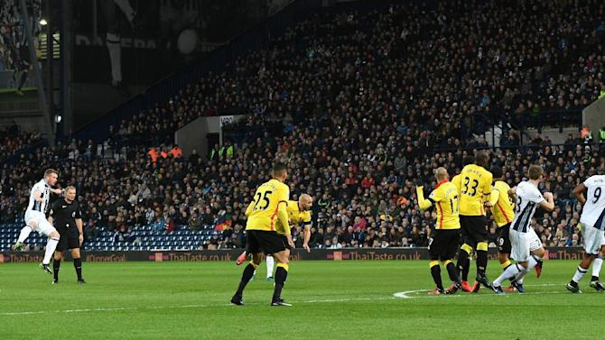 West Bromwich Albion's Chris Brunt scores their second goal