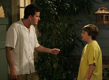"""Charlie Sheen and Angus T. Young CBS' """"Two and a Half Men"""""""