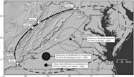 Map showing landslide limits from the Aug. 23, 2011, Virginia earthquake. The star indicates the epicenter; large crosses are landslide limits. The bold line shows a best-fit ellipse centered at the epicenter and passing through the observed l