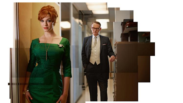 "Christina Hendricks as Joan Harris and Jared Harris as Lane Pryce in ""Mad Men."""