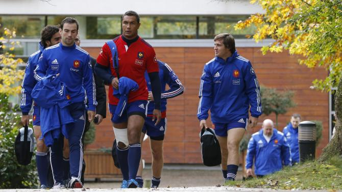 Captain Thierry Dusautoir of France attend a training session at the Rugby Union National Centre in Marcoussis