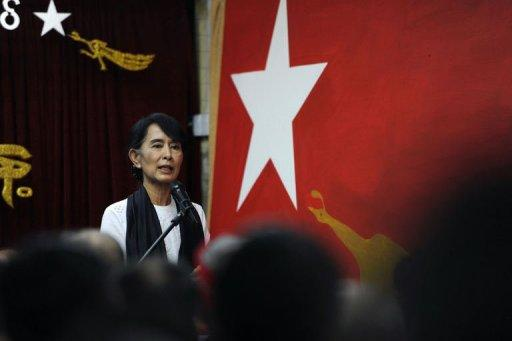Myanmar opposition leader Aung San Suu Kyi on Wednesday called for laws to protect the rights of ethnic minorities in her first ever speech to the country's fledgling parliament.
