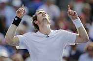 Britain's Andy Murray reacts after beating Czech Republic's Tomas Berdych in a semifinal match at the 2012 US Open tennis tournament, Saturday, Sept. 8, 2012, in New York. (AP Photo/Mike Groll)