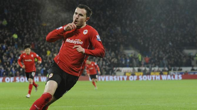 Cardiff City's Mutch celebrates scoring a goal against Sunderland during their English Premier League soccer match in Cardiff