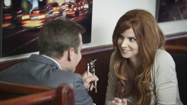 Gabriel Macht as Harvey Specter, Sarah Rafferty as Donna Paulsen in 'Suits' Episode 306, aka 'The Other Time' -- AMC