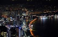 A general view shows the night skyline of Haeunde beach area in Busan, pictured in October. South Korea's central bank kept its key interest rate unchanged at 2.75 percent on Friday following a 25 basis points cut the previous month