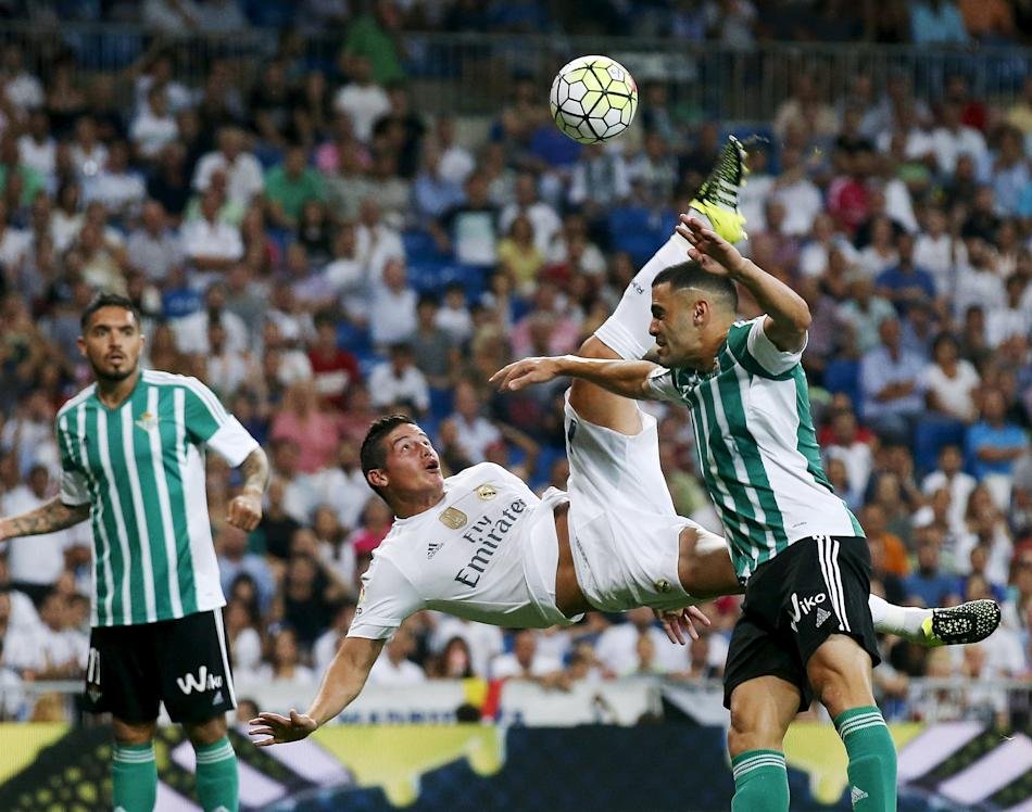 Real Madrid's Rodriguez scores his second goal during their Spanish first division soccer match at Santiago Bernabeu stadium in Madrid