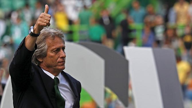 Sporting's new coach Jorge Jesus gestures during his presentation at the Alvalaxia stadium in Lisbon, Portuga