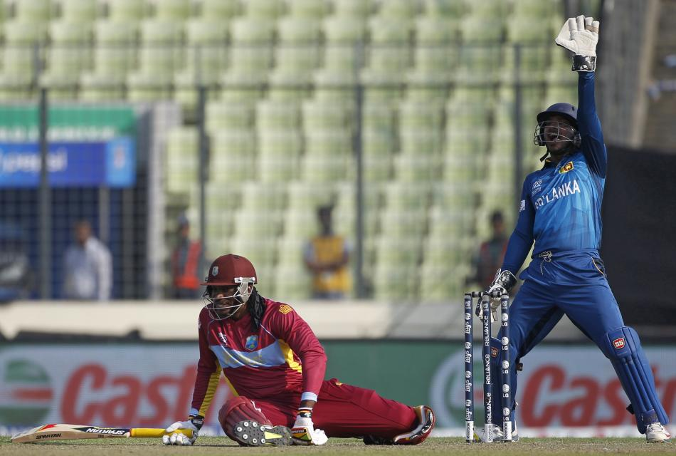 West Indies Gayle falls on ground as Sri Lanka's wicketkeeper Sangakkara appelas for his dismissal unsuccessfully during their warm-up match of ICC Twenty20 World Cup in Dhaka
