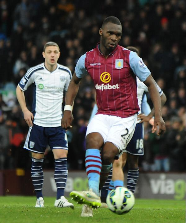 Villa's Christian Benteke scores the winning goal against West Brom from the penalty spot during the English Premier League soccer match between Aston Villa and West Bromwich Albion at Villa Park,