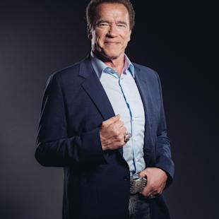 "In this Sunday, March 22, 2015 photo, Arnold Schwarzenegger poses for a portrait during press day for ""Terminator Genisys"" at The London Hotel in Los Angeles. It's a rare case when a film's most iconic line practically preordains a franchise.  As promised, The Terminator, and the man who originated the steely machine - Schwarzenegger - is back for another go-around in ""Terminator: Genisys."" The movie opens in U.S. theaters on July 1, 2015. (Photo by Casey Curry/Invision/AP)"