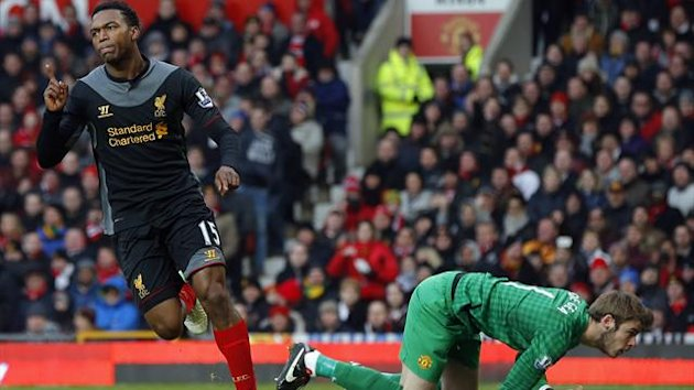 Liverpool's Daniel Sturridge celebrates his goal against Manchester United during their English Premier League match at Old Trafford