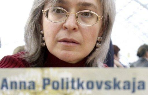 A picture taken March 17, 2005 shows Russian human rights advocate, journalist and author Anna Politkovskaya at a book fair in Germany. A former Russian police officer was to go on trial Wednesday on charges of involvement in her murder on October 7, 2006. Politkovskaya was sharply critical of President Vladimir Putin and his strongman policies in the volatile North Caucasus.