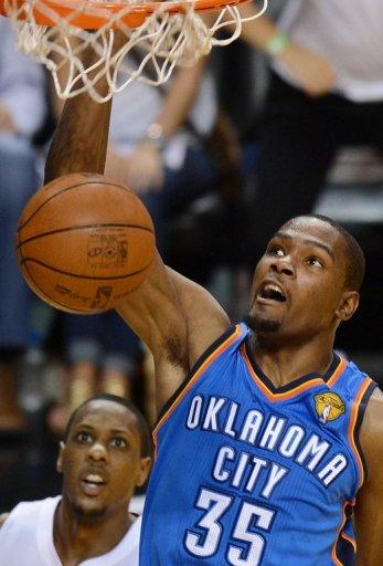 The Thunder's three-time NBA scoring champion Kevin Durant finished with a game-high 32 points and 11 rebounds