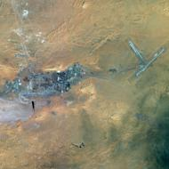 This photo released by EADS' Astrium Press on January 18, 2013, shows a satellite view of the In Amenas gas field in the Sahara desert. Islamist gunmen were holed up with an unknown number of foreign hostages on Saturday at a gas plant in the Algerian desert, amid uncertainty over what the army was doing to free their captives