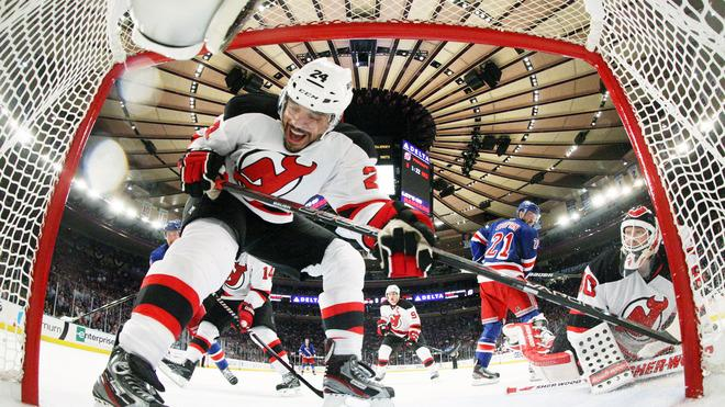 Bryce Salvador #24 And Martin Brodeur #30 Of The New Jersey Devils Defend Against The New York Rangers In The Second  Getty Images
