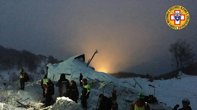 A picture released by Italy's CNSAS rescue agency shows teams working at the avalanche-hit Hotel Rigopiano